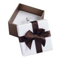 Decorative Gift Paper Ring Box , Custom Printed Jewelry Boxes White Foam Inside