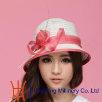 Buy cheap Red / Beige  / Black  / Yellow womens straw fedora hats for travel Occasion from wholesalers