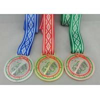 Buy cheap Egg Hunt Triathlon Ribbon Medals Copper Plating , Full Color Printing from wholesalers