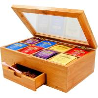 Buy cheap bamboo tea box tea bag organizer with drawer for hot selling from wholesalers