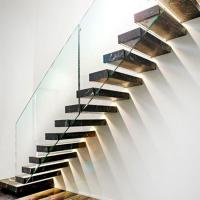Buy cheap Hot selling led light staircase glass wall with wood staircase floating stairs from wholesalers
