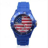 China Dark Blue USA Country Flag Silicone Wristband Watch with Date Function on sale