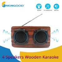 Buy cheap 2019 year 4 speakers 2 diaphragms hifi portable wooden bluetooth speaker FM radio Wireless microphone megaphone from wholesalers
