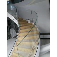 Buy cheap Side-mounted solid wood handrail glass railing prefabricated curved stairs product