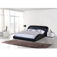 Buy cheap Black Color Wooden Bedroom Set  Luxury Waved Shape King-Size Leather Bed from wholesalers