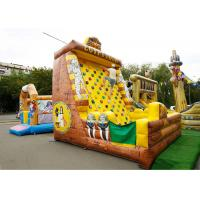 Buy cheap Inflatable Amusement  Park With Golden Rock Climbing Wall , Printed Partern from wholesalers