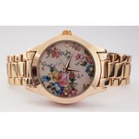 Buy cheap Flower Printing Dial Quartz Womens Watches Classic Wrist Watch Leisure Watch Set from wholesalers