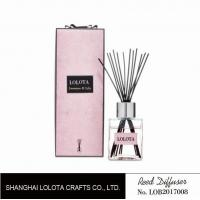 Buy cheap silver cap square bottle reed diffuser with ribbon pink folding box from wholesalers