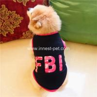 Buy cheap factory designer new clothes FBI printing black dog summer tshirt, cotton pet apparel from wholesalers