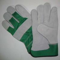 Buy cheap Grey Cow Split Leather Working Glove with Green/ Grey/ Red Fabric Back and Half Lining, from wholesalers