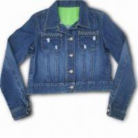 Buy cheap Fashionable Casual Denim Jacket with Metal Snap Closure, Made of 100% Cotton from wholesalers