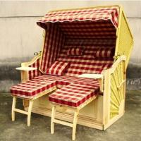 Buy cheap Wood And Resin Wicker Luxury Roofed Wicker Beach Chair & Strandkorb from wholesalers