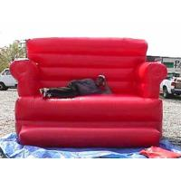 Buy cheap Red Durable Pvc Tarpaulin Inflatable Sofa Air Bed Furniture , Inflatable Couch Furniture from wholesalers