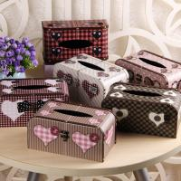 Buy cheap Vintage Chic Heart Pattern Facial Tissue Box Cover Napkin Holder for Bathroom Countertops with Buckle Lock from wholesalers