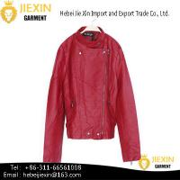 Buy cheap Hot Sexy Lady Red Motorcycle PU Leather Jacket from wholesalers