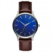 Buy cheap Miyota 2035 Quartz Mov'T Man Blue Face Watch With Leather Strap from wholesalers