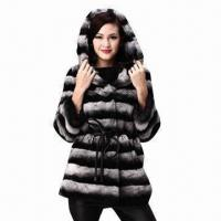Buy cheap Fashionable Desige Hooded Fur Coat, Noble Elegant Rex Rabbit Fur and Chinchilla Fur from wholesalers