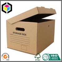 Buy cheap Cutout Handle Corrugated Storage Box; Black Color Archive Carton Packaging Box product