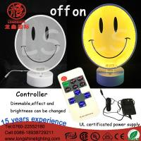Buy cheap LED 12V 220V Acrylic Smiling face neon sign table lamp desktop light for home wall decoration from wholesalers