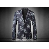Two Buttons Mens Floral Printed Suit Jackets Polyester Sublimation Back Vent