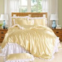 Buy cheap Luxury Princess Palace Bedding Wholesale Price Satin Silk Pink Gold White Bedsheet Duvet sets 50%discount from wholesalers