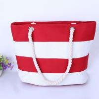 Buy cheap Printed Stripe Cotton Canvas Bags With Two Soft Cotton Rope Handles from wholesalers