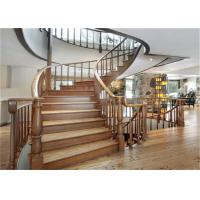 Buy cheap Elegant 38mm Open Wood Stairs , Glass Railing Curved Wooden Staircase No Slip from wholesalers