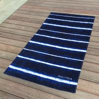 Soft Promotional Mens Beach Towel / Striped Beach Towels Blue And White