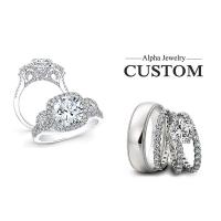 Buy cheap Fashion 925 sterling silver halo diamond engagement rings for couple from wholesalers