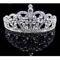 Buy cheap Fashionable eco friendly white big clear diamond crown bridal hair crown ornaments for ladies  from wholesalers