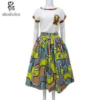 Buy cheap Womens African Print Skirts 100% Cotton Batik Fabric African Fashion Skirt High Low  Floor Length from wholesalers