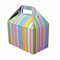 Buy cheap Beautiful Foldable Cake Packaging Box Silver Art / Kraft Paper With Handle from wholesalers