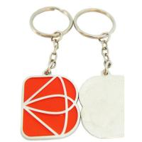 China One Side Logo Custom Shaped Keychains , Square / Rectangle Metal Stamped Keychain on sale