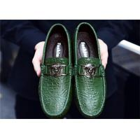 Buy cheap Soft Sole Mens Buckle Loafers Green Moccasins , Mens Leather Driving Shoes from wholesalers