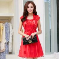 Buy cheap Red Classic Womens Suit Dress formal wedding gowns with flowers from wholesalers