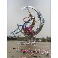 Buy cheap Electroplating Stainless Steel Sculpture Artists Goddess In Moon Shape As Sea Decor from wholesalers