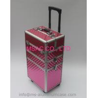 Buy cheap Three Layers Aluminum Makeup Trolley Case With Pink Color from wholesalers