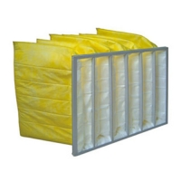 Buy cheap Yellow Color Chemical Resistance F9 Aluminum Frame Bag Filter / Pocket Air Filter product
