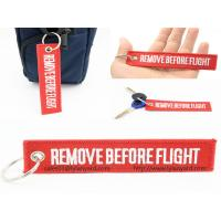 Buy cheap Custom Embroidery Logo Remove Before Flight Keychain, Woven Logo Keychain, Red Remove Before Flight Keychain with Ring from wholesalers