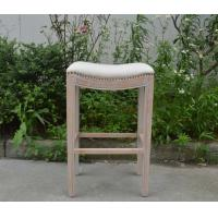 Buy cheap French style linen upholstered solid wood bar chair with rivet from wholesalers