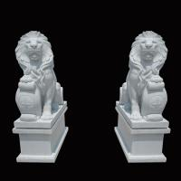Buy cheap White Garden Cast Iron Decor Carved Stone Pair Animals Lion Polished Finishing from wholesalers