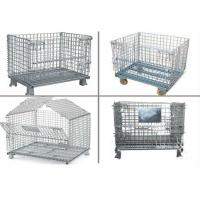 Buy cheap Collapsible Metal Pallet Cage , Steel Wire Pallet Storage Cage U Type Hand from wholesalers