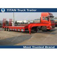 Buy cheap 40 Ton tri axle low bed / lowboy semi trailers with ramps , flatbed trailer equipment from wholesalers