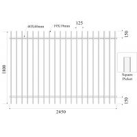 Buy cheap H1800mmxW2450m Square Picket 19mmx19mm Rail 40mmx40mm Stain black Powder Diplomat Fencing Panels from wholesalers