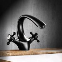 Buy cheap Antique Black Bronze Brass Two Handles Bathroom Mixer Water Sink Tap T0159B from wholesalers