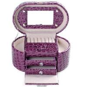 Buy cheap 3-tier jewelry box jewelry storage box purple crocodile pattern product