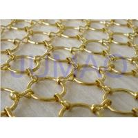 Buy cheap Gold Galvanized Metal Ring Curtain , 22 Mm Holes Flexible Chainmail Mesh Fabric product