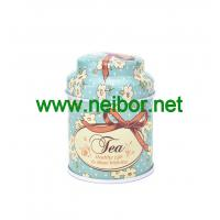 Buy cheap custom printing small round metal tin tea box storage can with dome lid from wholesalers