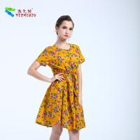 Buy cheap High Waist Style Short Cotton Summer Dresses O Neck Neckline With Pocket from wholesalers