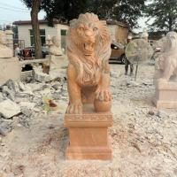 Buy cheap Antique Wildlife Sculpture Life Size Red Marble Stone Lion Pair Garden Statue from wholesalers